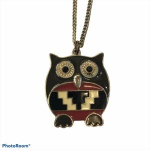 Aztec Tribal Owl Pendant long necklace stacked